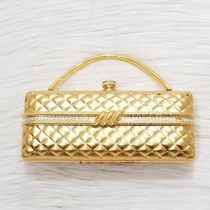 Vintage gold metal evening clutch bag